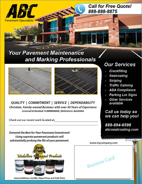 Customizable Flyer For Pavement Maintenance And Marking Contractors